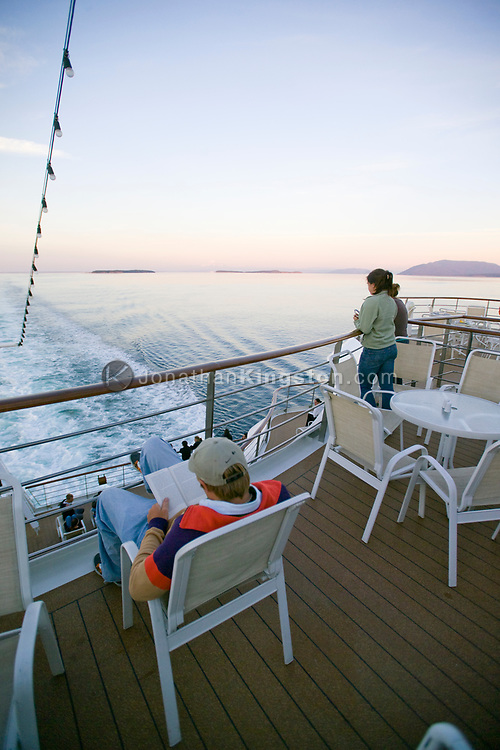 Students on the deck of the MV Explorer as it leaves Vancouver, BC on the first leg of its journey around the world.  The Institute for Shipboard Education's Semester at Sea program offers programs in international education for college students from around the globe.
