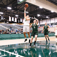 1st year guard Carolina Goncalves (8) of the Regina Cougars during the Women's Basketball pre-season game on October 14 at Centre for Kinesiology, Health and Sport. Credit: Arthur Ward/Arthur Images