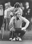 Jack Nicklaus and Tom Watson paired together in the 1981 Ryder Cup Matches<br /> Picture Credit: &copy;Visions In Golf / Hobbs Golf Collection