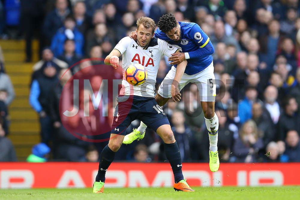 Ashley Williams of Everton leans over Harry Kane of Tottenham Hotspur to get the ball - Mandatory by-line: Jason Brown/JMP - 05/03/2017 - FOOTBALL - White Hart Lane - London, England - Tottenham Hotspur v Everton - Premier League