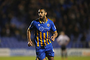 45 Stefan Payne turns to celebrate his goal for Shrewsbury Town  during the EFL Sky Bet League 1 match between Shrewsbury Town and Peterborough United at Greenhous Meadow, Shrewsbury, England on 24 April 2018. Picture by Graham Holt.
