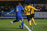 AFC Wimbledon attacker Marcus Forss (15) battles for possession with Southend United midfielder Mark Milligan (5) during the EFL Sky Bet League 1 match between AFC Wimbledon and Southend United at the Cherry Red Records Stadium, Kingston, England on 1 January 2020.