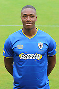 AFC Wimbledon defender Paul Kalambayi at AFC Wimbledon Team Photo 02AUG16 at the Cherry Red Records Stadium, Kingston, England on 2 August 2016. Photo by Stuart Butcher.