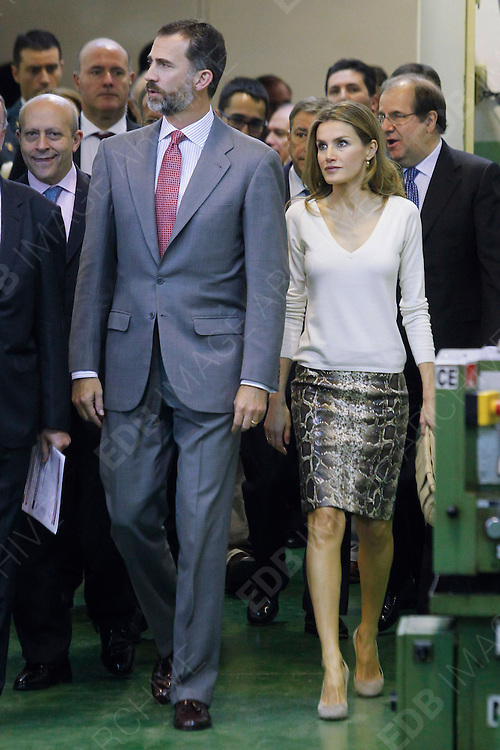 09.OCTOBER.2012. VALLADOLID<br /> <br /> PRINCESS LETIZIA AND PRINCE FELIPE ATTEND THE OPENING OF THE PROFESSIONAL TRAINING COURSE 2012-2013 AT THE JUAN DE HERRERA HIGH SCHOOL IN VALLADOLID, SPAIN.<br /> <br /> BYLINE: EDBIMAGEARCHIVE.CO.UK<br /> <br /> *THIS IMAGE IS STRICTLY FOR UK NEWSPAPERS AND MAGAZINES ONLY*<br /> *FOR WORLD WIDE SALES AND WEB USE PLEASE CONTACT EDBIMAGEARCHIVE - 0208 954 5968*