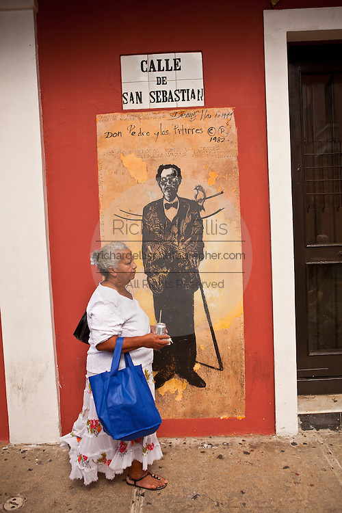 Sign marking the Historic area of Calle San Sebastian Old San Juan, Puerto Rico.