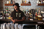NEW YORK, NY - April 15, 2015: Owner Karl Franz behind the bar at 67 Orange Street in Harlem.<br /> <br /> CREDIT: Clay Williams for Food Republic.<br /> <br /> © Clay Williams / claywilliamsphoto.com