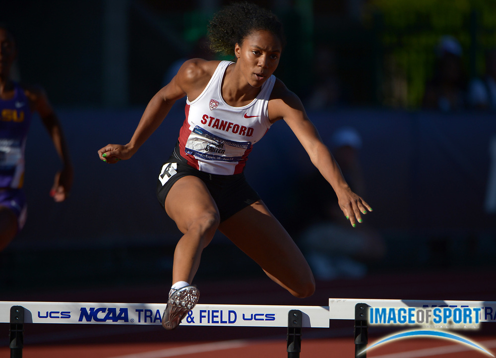 Jun 5, 2013; Eugene,  OR, USA; Kori Carter of Stanford was the top qualifier in the womens 400m hurdles in 54.67 in the 2013 NCAA Championships at Hayward Field.