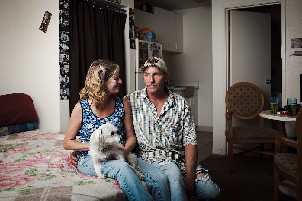 Eddy and Jody spent nearly ten years living in he storm drains under Las Vegas. Being homeless they found that the tunnels offered the best chance of security, privacy and in many ways a normal life. In the tunnels they were able to have bedding and possessions in a way that they wouldn't have been able to maintain had they been living above ground. The realisation that they didn't want to die down there led to them slowly getting things together so that they could move out. Acquiring things such as a computer and scooters for transport were crucial in allowing them to widen their employment opportunities and get them regular work and the ability to commit to renting somewhere. In 2011 they moved into a single room in Siegel Suites motel. They are now looking to get a mortgage and take their first steps to owning their own property.