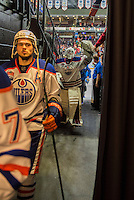 PENTICTON, CANADA - SEPTEMBER 17: Dylan Wells #30 of Edmonton Oilers high fives fans after the win against the Calgary Flames on September 17, 2016 at the South Okanagan Event Centre in Penticton, British Columbia, Canada.  (Photo by Marissa Baecker/Shoot the Breeze)  *** Local Caption *** Dylan Wells;