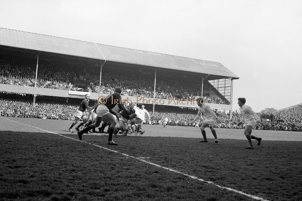 J P Engelbrecht, with ball, Springbok flyhalf, looks for an opening as he makes a dash for the Irish line,..Irish Rugby Football Union, Ireland v South Africa, Tour Match, Landsdowne Road, Dublin, Ireland, Saturday 10th April, 1965,.10.4.1965, 4.10.1965,..Referee- P G Brook, Rugby Football Union, ..Score- Ireland 9 - 6 South Africa, ..Irish Team, ..T J Kiernan,  Wearing number 15 Irish jersey, Full Back, Cork Constitution Rugby Football Club, Cork, Ireland,..P J McGrath,  Wearing number 14 Irish jersey, Right Wing, University college Cork Rugby Football Club, Cork, Ireland,  ..J C Walsh,  Wearing number 13 Irish jersey, Right Centre, University college Cork Rugby Football Club, Cork, Ireland,..M K Flynn, Wearing number 12 Irish jersey, Left Centre, Wanderers Rugby Football Club, Dublin, Ireland, ..K J Houston, Wearing number 11 Irish jersey, Left Wing, Bruff Rugby Football Club, Limerick, Ireland, and, Oxford University Rugby Footabll Club, Oxford, England, ..C M H Gibson, Wearing number 10 Irish jersey, Stand Off, Cambridge University Rugby Football Club, Cambridge, England, and, N.I.F.C, Rugby Football Club, Belfast, Northern Ireland,..R M Young, Wearing number 9 Irish jersey, Scrum Half, Queens University Rugby Football Club, Belfast, Northern Ireland,..S MacHale, Wearing number 1 Irish jersey, Forward, Landsdowne Rugby Football Club, Dublin, Ireland, ..K W Kennedy, Wearing number 2 Irish jersey, Forward, Queens University Rugby Football Club, Belfast, Northern Ireland,..R J McLoughlin, Wearing number 3 Irish jersey, Captain of the Irish team, Forward, Gosforth Rugby Football Club, Newcastle, England, ..W J McBride, Wearing number 4 Irish jersey, Forward, Ballymena Rugby Football Club, Antrim, Northern Ireland,..W A Mulcahy, Wearing number 5 Irish jersey, Forward, Bective Rangers Rugby Football Club, Dublin, Ireland,  ..M G Doyle, Wearing number 6 Irish jersey, Forward, University College Dublin Rugby Football Club, Dublin, Ireland,..N Murphy, Wearing number 7 Ir