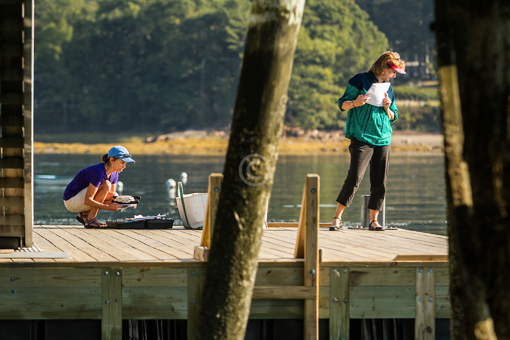 volunteers Nan Bragg and Jeanie Wester conduct routine water sampling at Cousins Island Wharf