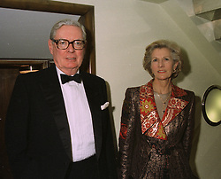 SIR ANTHONY & LADY TENNANT at a dinner in London on April 14th 1997.LXO 2