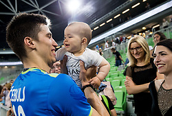 Klemen Cebulj of Slovenia with his child and wife Sara after the volleyball match between National teams of Slovenia and Portugal in 2nd Round of 2018 FIVB Volleyball Men's World Championship qualification, on May 26, 2017 in Arena Stozice, Ljubljana, Slovenia. Photo by Vid Ponikvar / Sportida