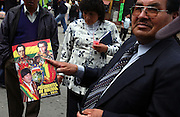 La Paz Bolivia.<br />Vendor on the street of La Paz selling magazines of Bolivia's presidents, including the new president  Evo Morales, the leader of the socialist MAS party and the former coca grower's union leader. His election has underlined a trend towards leftwing leaders in Latin America.