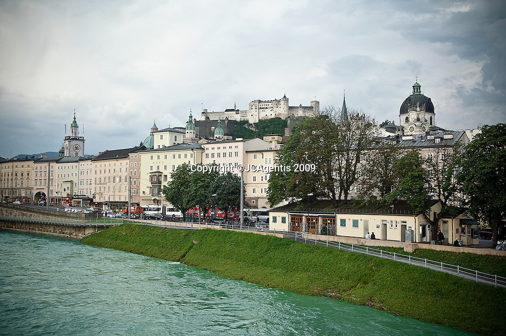 Salzbach river running through the historic town of Salzburg Austria