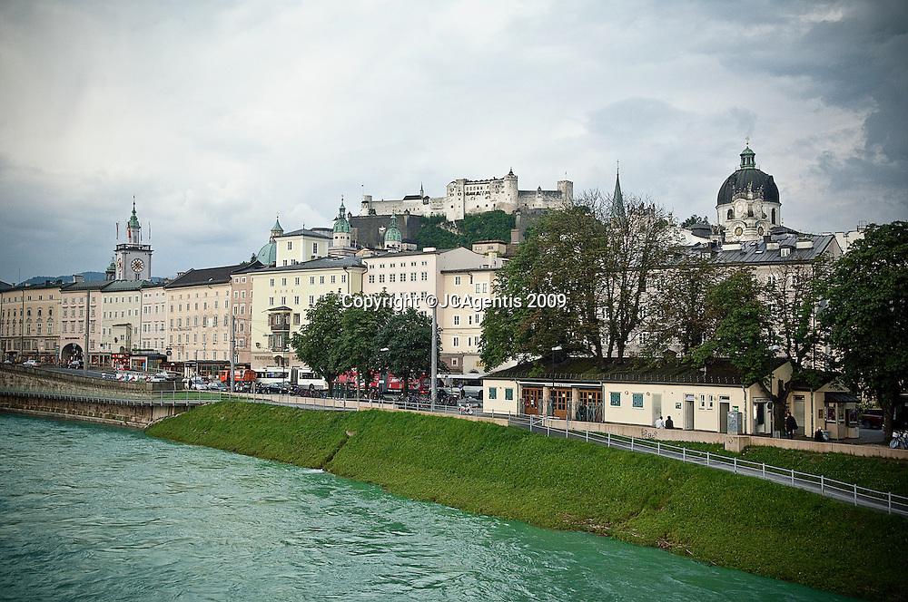 Salzbach river running through the historic town of Salzburg Austria