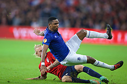 LILLE, FRANCE - Thursday, October 23, 2014: Everton's Samuel Eto'o in action against Lille OSC's Simon Kjaer during the UEFA Europa League Group H match at Stade Pierre-Mauroy. (Pic by David Rawcliffe/Propaganda)