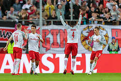12.04.2018, Red Bull Arena, Salzburg, AUT, UEFA EL, FC Salzburg vs SS Lazio Roma, Viertelfinale, Rueckspiel, im Bild Torjubel zum 2:1 durch Amadou Haidara (FC Salzburg), Valon Berisha (FC Salzburg), Hee Chan Hwang (FC Salzburg), Stefan Lainer (FC Salzburg) // during the UEFA Europa League Quaterfinal, 2nd Leg Match between FC Salzburg and SS Lazio Roma at the Red Bull Arena in Salzburg, Austria on 2018/04/12. EXPA Pictures © 2018, PhotoCredit: EXPA/ JFK