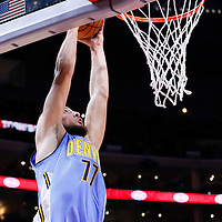 02 October 2015: Denver Nuggets forward Joffrey Lauvergne (77) goes for the dunk during the Los Angeles Clippers 103-96 victory over the Denver Nuggets, in a preseason game, at the Staples Center, Los Angeles, California, USA.
