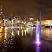 Bradford City Park in Centenary square at night.