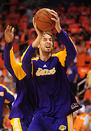 May 29, 2010; Phoenix, AZ, USA; Los Angeles Lakers forward Pau Gasol (16) warms up prior to the first quarter in game six of the western conference finals in the 2010 NBA Playoffs at US Airways Center.  Mandatory Credit: Jennifer Stewart-US PRESSWIRE