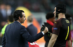 Arsenal manager Unai Emery consoles Petr Cech after the UEFA Europa League final at The Olympic Stadium, Baku, Azerbaijan.
