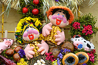 Stock photo of a Ukrainian souvenir made from natural ingredients Foods flowers plants and plaster Horizontal