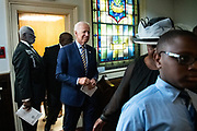 Democratic presidential hopeful former Vice President Joe Biden arrives for Sunday service at the Morris Brown AME Church July 7, 2019 in Charleston, South Carolina. South Carolina, called the First in the South, is the first southern democratic primary in the presidential nomination race.
