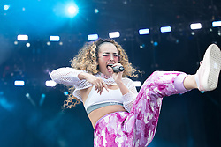 RETRANSMITTING CORRECTING NAME CORRECT CAPTION BELOW<br /> Ella Eyre performs on the Supervene Stage during the V Festival at Weston Park in Shifnal, Staffordshire.