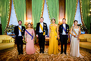 King Willem-Alexander and Queen Maxima of The Netherlands, Grand Duke Henri, Grand Duchess Maria Teresa, Hereditary Grand Duke Guillaume and Hereditary Grand Duchess Stephanie pose for the official picture during the state banquet in the Grand Ducal Palace, 23 May 2018. The Dutch King and Queen are in Luxembourg for an three day state visit. Photo: robin Utrecht<br /> <br /> LUXEMBURG - Koning Willem-Alexander, koningin Maxima, Groothertog Henri, Groothertogin Maria Teresa, Erf Groothertog Guillaume en Erf Groothertogin Stephanie tijdens het staatsbanket. Het koningspaar is voor een driedaags staatsbezoek in Luxemburg. ANP ROYAL IMAGES
