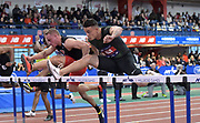 Feb 9, 2019; New York, NY, USA; Devon Allen wins the 60m hurdles in 7.61 during the 112th Millrose Games at The Armory.