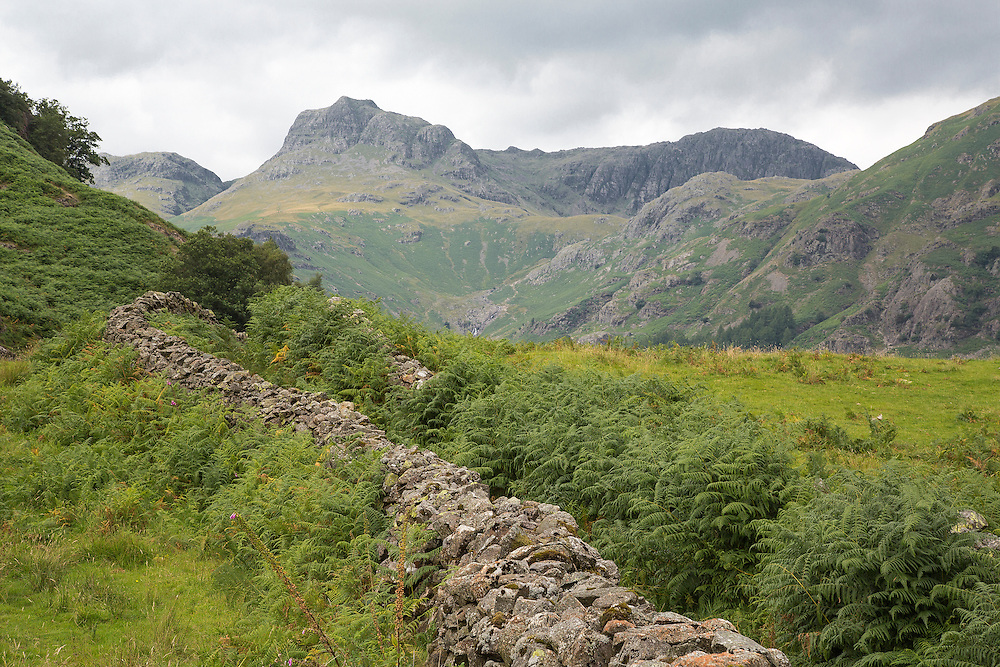 A view of the Langdale Valley in the English Lake District towards the Langdale Pikes