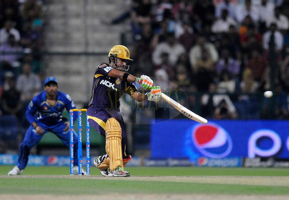 Gautam Gambhir captain of the Kolkata Knight Riders bats during match 19 of the Pepsi Indian Premier League 2014 Season between The Kolkata Knight Riders and the Rajasthan Royals held at the Sheikh Zayed Stadium, Abu Dhabi, United Arab Emirates on the 29th April 2014<br /> <br /> Photo by Pal Pillai / IPL / SPORTZPICS