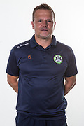 Forest Green Rovers manager, Mark Cooper during the official team photocall for Forest Green Rovers at the New Lawn, Forest Green, United Kingdom on 29 July 2019.