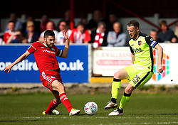 Jake Taylor of Exeter City takes on Seamus Conneely of Accrington Stanley - Mandatory by-line: Robbie Stephenson/JMP - 14/04/2018 - FOOTBALL - Wham Stadium - Accrington, England - Accrington Stanley v Exeter City - Sky Bet League Two