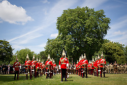 © Licensed to London News Pictures. 30/06/2013. London, UK. Bandsmen and women of the Lifeguards stand on parade in Southwark, London, today (30/06/2013) as part of Armed Forces Day celebrations held across the country during the weekend. Units, including City of London Field Hospital Volunteers, The Royal Marines Reserve (City of London), RMR London, The London Irish Rifles: 'D' Company and The London Regiment, all units with connections to the Southwark, were today presented with the freedom of the borough as part of Armed Forces Day celebrations. Photo credit: Matt Cetti-Roberts/LNP