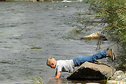 Boy Playing, Boy, Young Boy, Playing, Play, Fun, Happy, Explore, Smile, Child Playing, Child, Children, Summer, Salmon River, Idaho