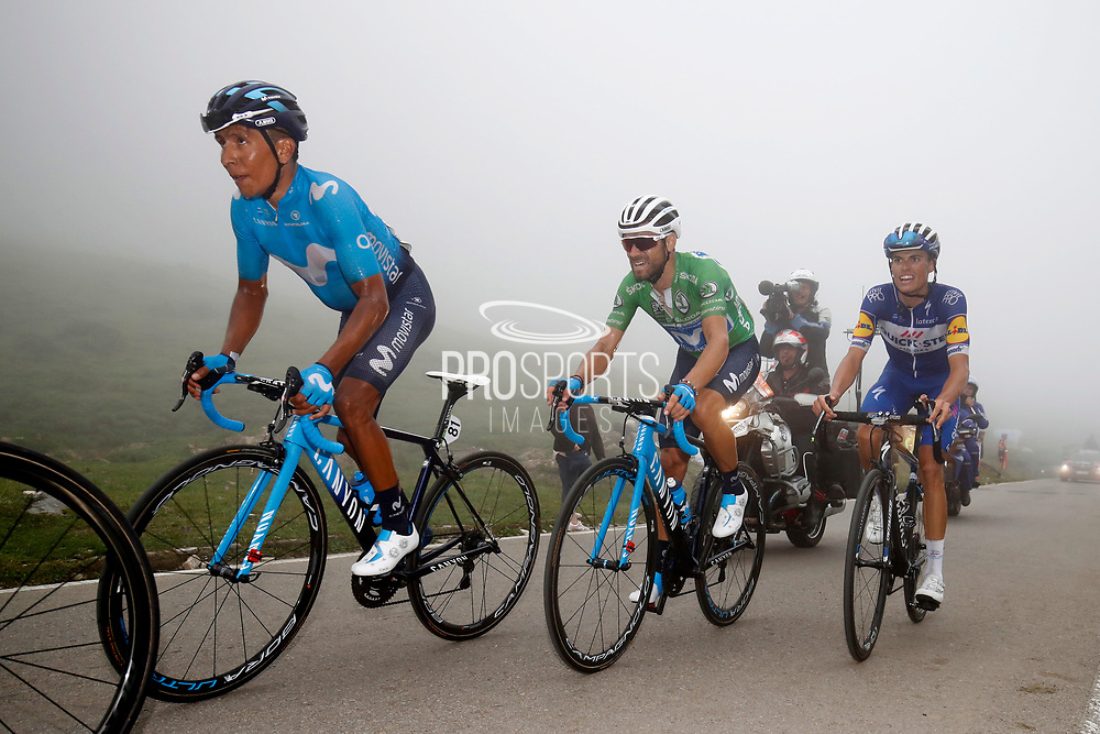 Nairo Quintana (COL, Movistar), Alejandro Valverde (ESP, Movistar) and Enric Mas (ESP, QuickStep Floors) during the 73th Edition of the 2018 Tour of Spain, Vuelta Espana 2018, Stage 15 cycling race, 15th stage Ribera de Arriba - Lagos de Covadonga 178,2 km on September 9, 2018 in Spain - Photo Luca Bettini/ BettiniPhoto / ProSportsImages / DPPI