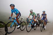 Nairo Quintana (COL, Movistar), Alejandro Valverde (ESP, Movistar) and Enric Mas (ESP, QuickStep Floors) during the 73th Edition of the 2018 Tour of Spain, Vuelta Espana 2018, Stage 15 cycling race, 15th stage Ribera de Arriba - Lagos de Covadonga 178,2 km on September 9, 2018 in Spain - Photo Luca Bettini/ BettiniPhoto / ProSportsImages / DPPI