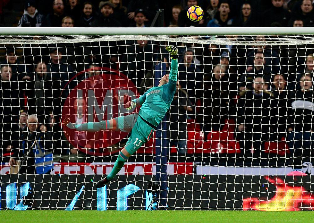 Adrian of West Ham United tips the ball over bar. - Mandatory by-line: Alex James/JMP - 04/01/2018 - FOOTBALL - Wembley Stadium - London, England - Tottenham Hotspur v West Ham United - Premier League