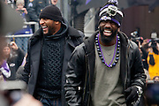 Baltimore Ravens linebacker Ray Lewis and safety Ed Reed share a laugh during the teams Super Bowl XLVII Celebration at M&T Bank Stadium on Tuesday, February 5, 2013 in Baltimore, MD.