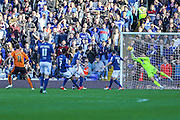 Birmingham City's Tomasz Kuszczak makes a great save from Wolverhampton Wanderers Kevin McDonald during the Sky Bet Championship match between Birmingham City and Wolverhampton Wanderers at St Andrews, Birmingham, England on 31 October 2015. Photo by Shane Healey.