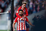 Atletico Madrid's French forward Antoine Griezmann and Atletico Madrid's Spanish forward Diego Costa celebrate during the Spanish championship Liga football match between Atletico Madrid and Athletic Bilbao on february 18, 2018 at the Metropolitano stadium in Madrid, Spain - Photo Benjamin Cremel / ProSportsImages / DPPI