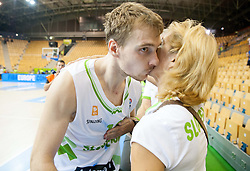 Zoran Dragic of Slovenia kissing his mother Mojca after the basketball match between National teams of Slovenia and Spain in Round 1 at Day 2 of Eurobasket 2013 on September 5, 2013 in Arena Zlatorog, Celje, Slovenia. (Photo by Vid Ponikvar / Sportida.com)