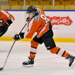 WHITBY, ON - Feb 11: Ontario Junior Hockey League game between Orangeville Flyers and Whitby Fury. Devon Gillham #8 of the Orangeville Flyers Hockey Club shoots the puck during second period game action.<br /> (Photo by Shawn Muir / OJHL Images)