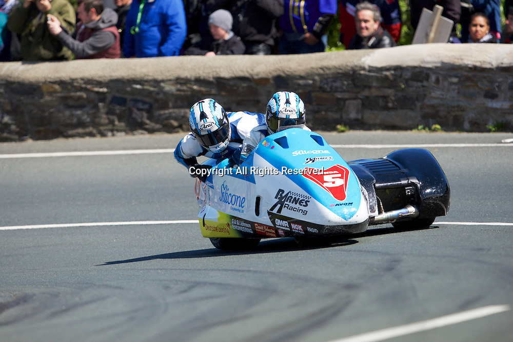 08.06.2015. Douglas, Isle of Man. 2015 Isle of Man TT Races. John Holden and Dan Sayle in action during the TT Sidecar race.