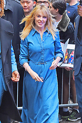 Kylie Minogue looks stunning a denim maxi dress and gold shoes as she stops by the GMA. 27 Apr 2018 Pictured: Kylie Minogue. Photo credit: MEGA TheMegaAgency.com +1 888 505 6342