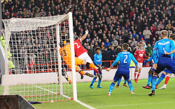 FORESTS ERIC LICHAJ HEADS IN FORESTS FIRST GOAL,  Nottingham Forest v Arsenal Emirates FA Cup Third Round, City Ground Sunday 7th January 2018