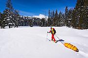 Backcountry skier towing a sled, Ansel Adams Wilderness, Sierra Nevada Mountains, California USA