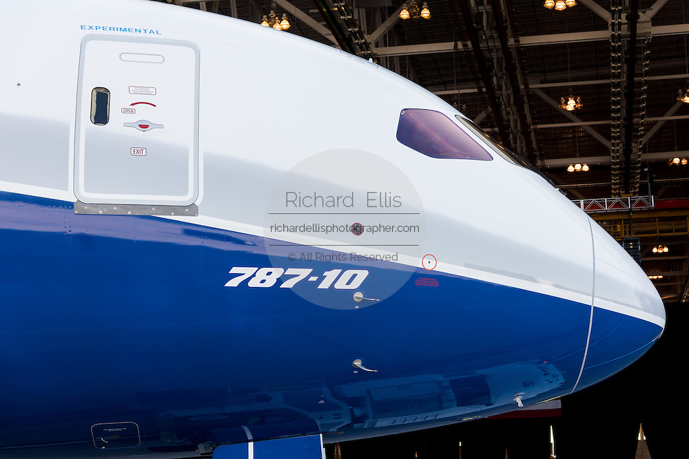 The new Boeing 787-10 Dreamliner aircraft unveiled at the Boeing factory February 17, 2016 in North Charleston, SC. President Donald Trump attended the rollout ceremony for the stretch version of the aircraft capable of carrying 330 passengers over 7,000 nautical miles.
